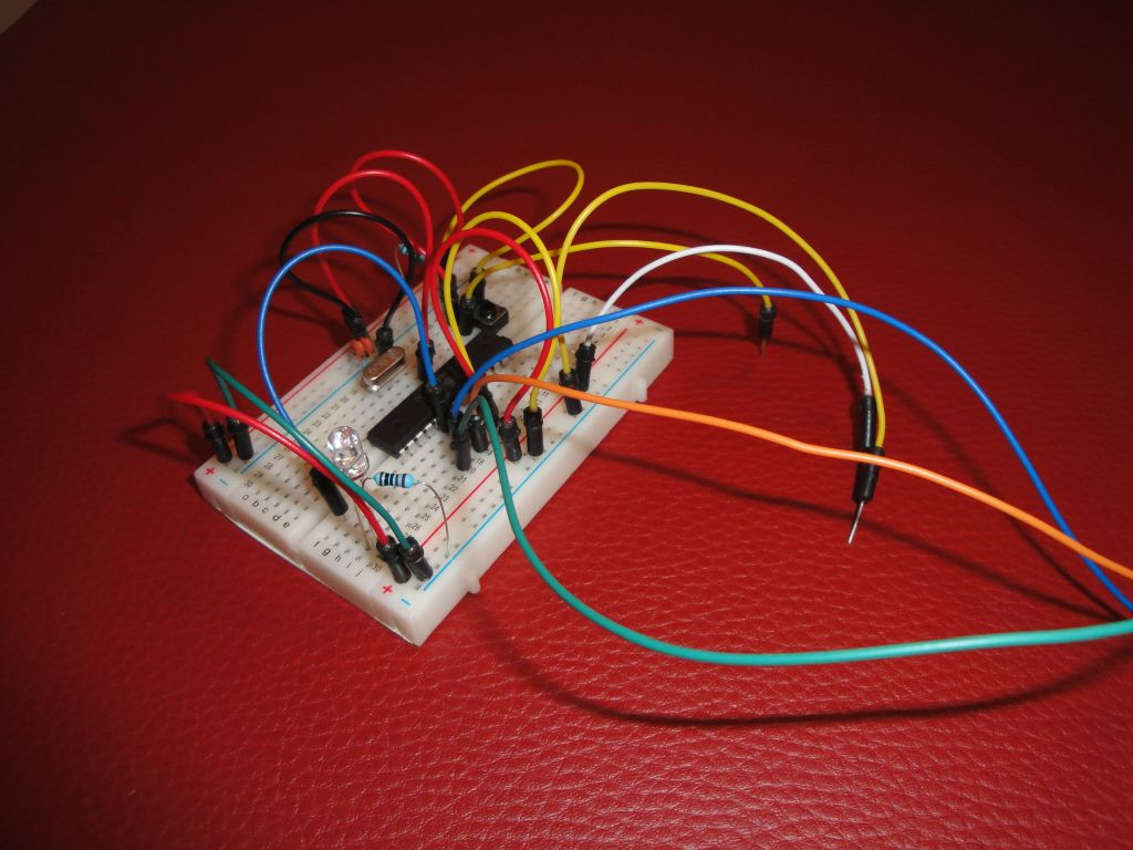 ATmega328P on a breadboard