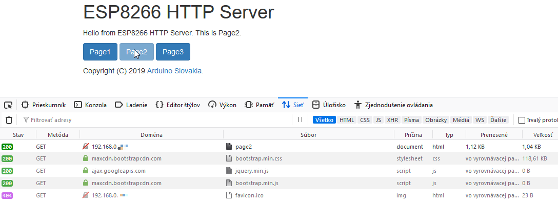 Arduino Slovakia - ESP8266 - HTTP server with multiple pages in SPIFFS