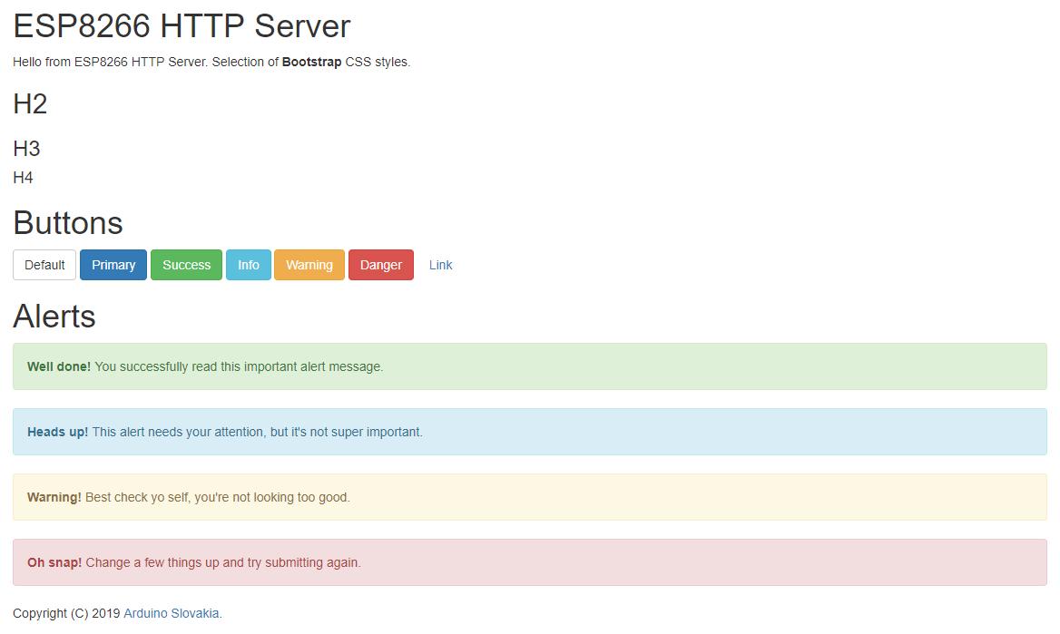 Arduino Slovakia - ESP8266 - HTTP server and responsive design